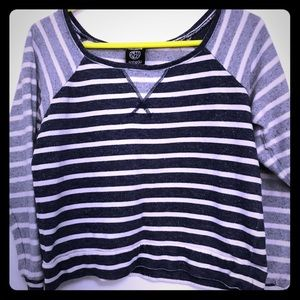 Bobeau Blue and White Striped Cropped Sweater M